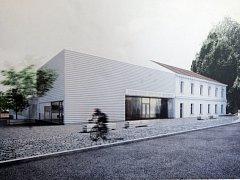 Vizualizace nové víceúčelové haly v Modřicích.