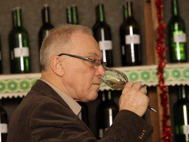 Ochutnávka vín v prostorách Spolkové budovy zahrádkářů v Židlochovicích.