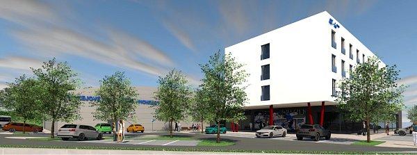 Hokejová hala ve Vinohradech by podle představ spolku Modern Hockey mohla vypadat takto. Dvě kluziště doplňuje hotel a restaurace.