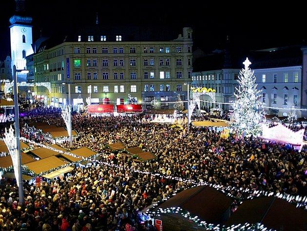 Vánoční náměstí Svobody v Brně.