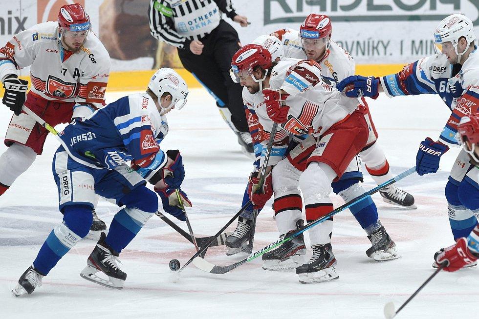 Brno 17.1.2021 - domácí HC Kometa Brno v modrém proti Mountfield Hradec Králové