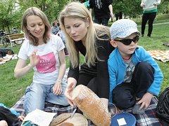 Hromadný piknik v trávě v parku za účasti několika desítek lidí. Tak vypadalo dopoledne v brněnském Tyršově sadu.
