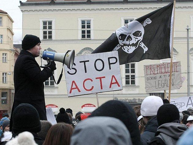 Protest proti ACTA v Brně - Ilustrační fotografie.