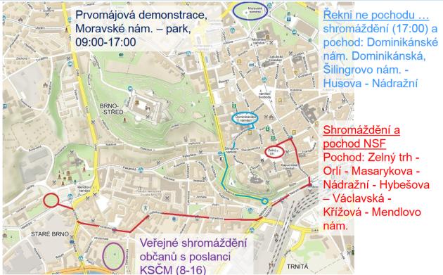 Mapa tras pochodů.