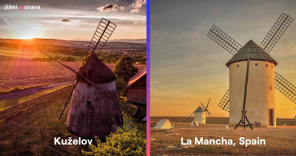 Větrný mlýn v Kuželově na Hodonínsku a větrný mlýn La Mancha ve Španělsku.