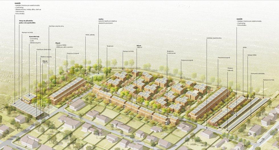 Návrh nové čtvrti Chytré Líchy v Židlochovicích. Vizualizace: Pelčák a partner architekti