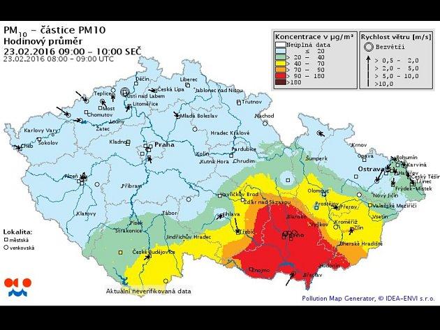 Meteorologové v úterý dopoledne naměřili v Jihomoravském kraji zvýšenou koncentraci prachu ve vzduchu. Způsobil ji jemný písek z africké Sahary, který se do kraje dostal díky proudění vzduchu z teplejších krajin.