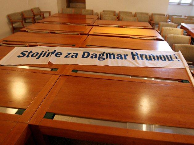 Demonstrace na podporu bývalé starostky Dagmar Hrubé.