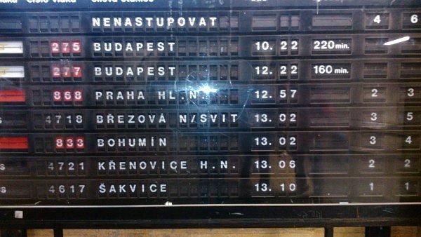 Zpoždění nabíraly vlaky na brněnském hlavním nádraží.