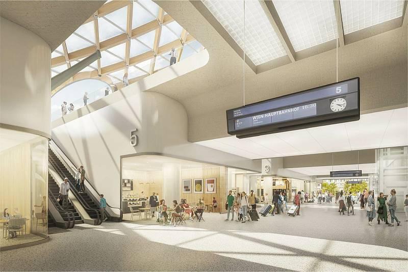 Druhé místo: návrh podoby nového hlavního vlakového nádraží v Brně od Sdružení Pelčák a partner architekti – Müller Reimann Architekten.