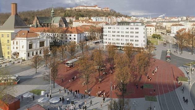 Návrh proměny Mendlova náměstí v Brně.