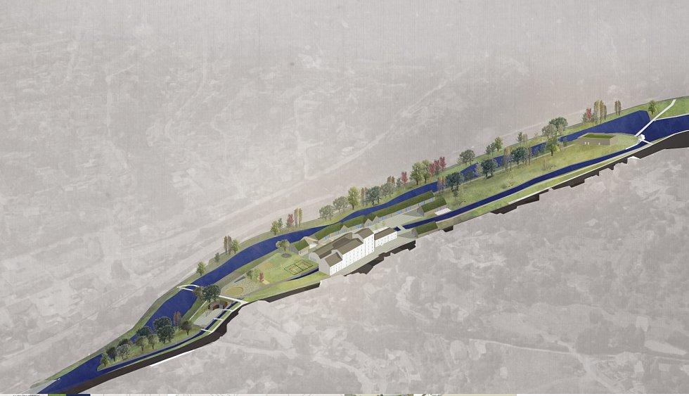 Vizualizace možné podoby Mlýnského ostrova v Bílovicích nad Svitavou.