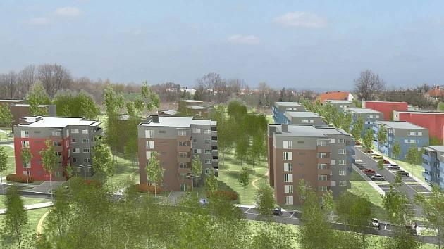 Plánované bytové a rodinné domy mezi Tuřany a Chrlicemi.