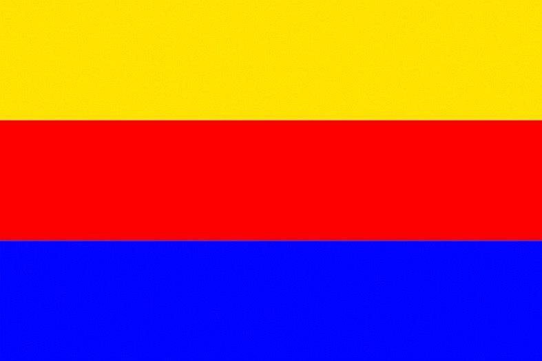 Trikolóra se žlutým, červeným a modrým pruhem.  Varianta vlajky, která měla být v devatenáctém století kompromisem mezi trikolórou ve slovanských barvách a červenožlutou bikolórou. Prakticky se nepoužívala.