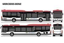 Polepy nových hybridních autobusů.