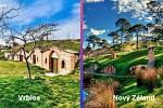 Vinařské sklepy ve Vrbici na Břeclavsku a vesnice Hobitín na Novém Zélandu.