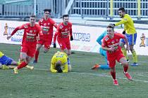 Radost brněnským fotbalistům po gólu proti Zlínu trvala jen krátce. Podle komise rozhodčích ho sudí Hocek neuznal správně.