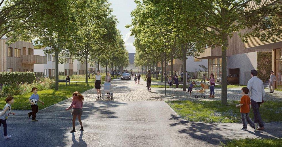 Návrh nové čtvrti Chytré Líchy v Židlochovicích. Vizualizace.