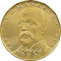 Unikátní dvacetikorunová mince s Tomášem Garriguem Masarykem.