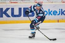 Hokejista Filip Pyrochta ještě v dresu libereckých Bílých tygrů.