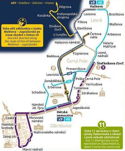 Mapa změn v městské hromadné dopravě v Brně při výluce v Lesnické ulici.