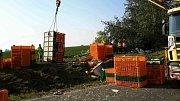 Nehoda dvou kamionů na D52 u Syrovic na Pohořelicku. Jeden z nich vezl živá kuřata.