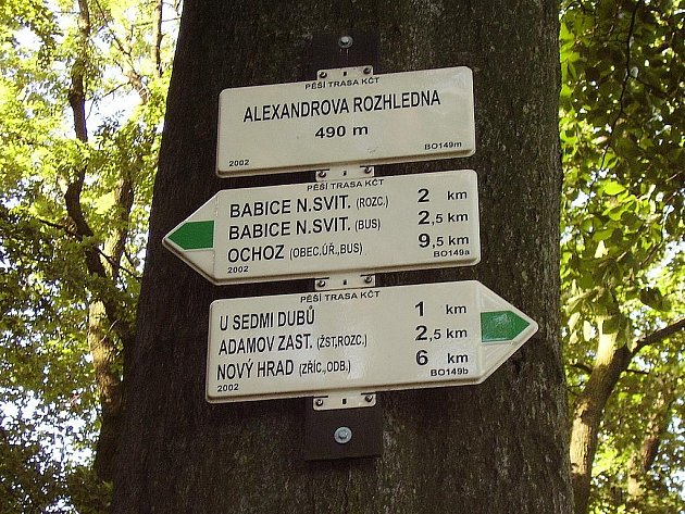 Alexandrova rozhledna - rozcestník.