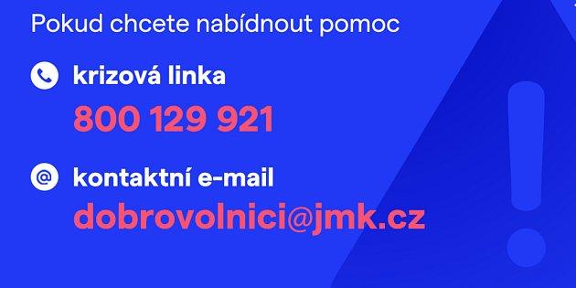 Krizová linka ikontaktní mail, kde mohou lidé nabízet pomoc obcím postižených tornádem.