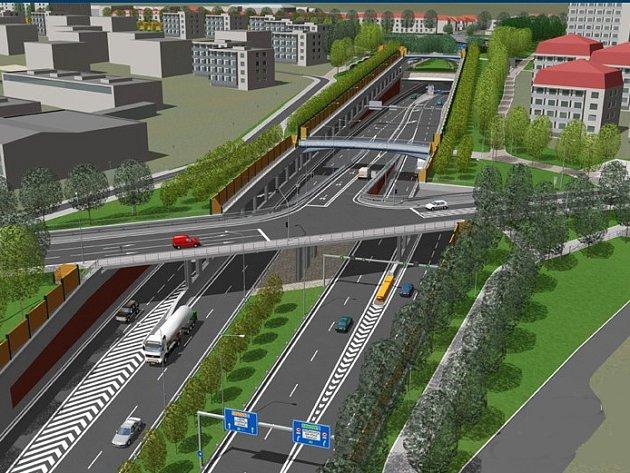 Vizualizace velkého městkého okruhu - etapa Žabovřeská. Ilustrační foto.