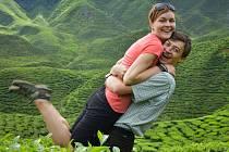 Manželé na čajových plantážích.