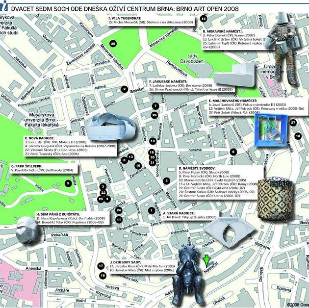 Sochy vcentru Brna: kde jsou a jak vypadají