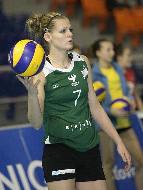 Volejbalistky KP Brno v utkání s Lokomotiv Baku - Pavla Vincourová.
