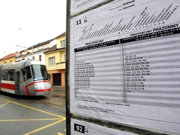 Dopravní podnik Brna počítá se zrušením zastávky Králova na lince 11 a 3.