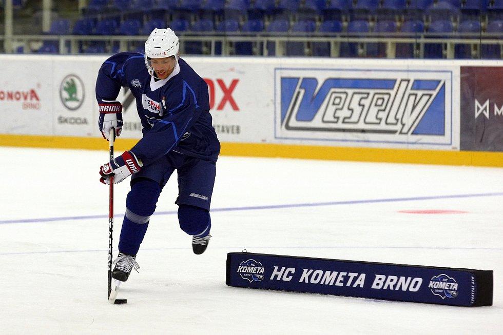 První trenink hokejové Komety Brno v DRFG aréně.