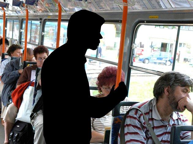 Černý pasažér - Ilustrační fotomontáž.