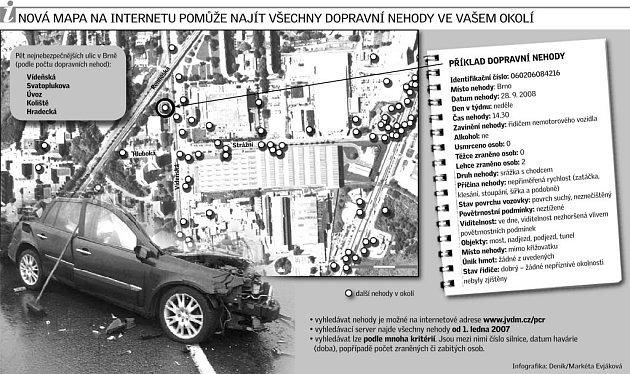 Internetová mapa dopravních nehod