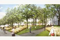 Návrh architekta Jiřího Vokřála a Michaely Tománkové a Jána Augustína na rekonstrukci parku mezi Místodržitelským palácem a Rooseveltovou ulicí, který vyhrál.