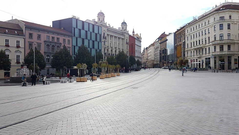 Prázdné centrum města Brna.
