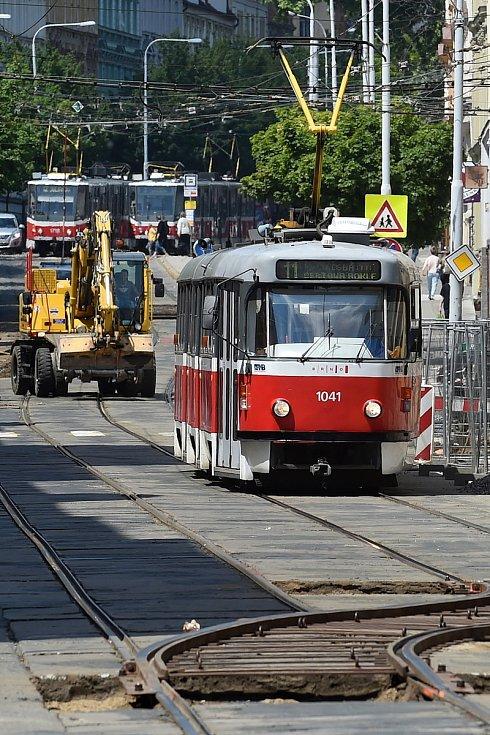 Oprava ulice Veveří z 18. května 2020.