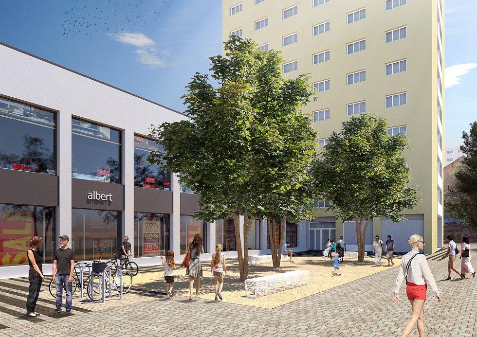 Budoucí podoba upraveného prostranství před supermarketem Albert na Mendlově náměstí v Brně.