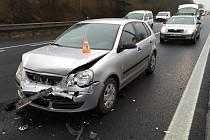 Nehoda na 193. kilometru dálnice D1 u sjezdu na Vídeňskou ve směru na Vyškov.