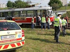 Havárie tramvají v brněnských Bohunicích.