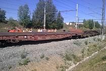 Vykolejený nákladní vlak v brněnských Horních Heršpicích.