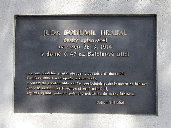 Pomník Bohumila Hrabala vBrně-Židenicích.