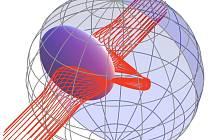 Obrázek zachycuje obtékání předmětu světlem v zakřiveném prostoru.