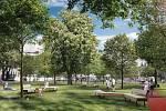 Vítězný návrh podoby Mendlova náměstí od architektů Michala Palaščáka a Michala Poláše.