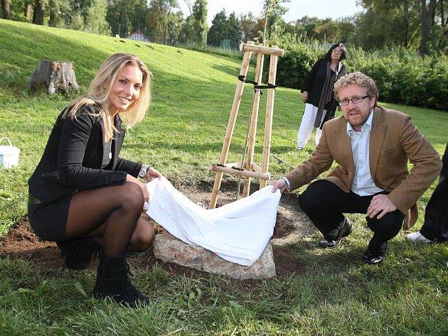 Strom výtvarníka a akademického architekta Dušana Ždímala vysadili v pondělí odpoledne v parku Lužánky děti známého brněnského umělce a jeho přátelé.