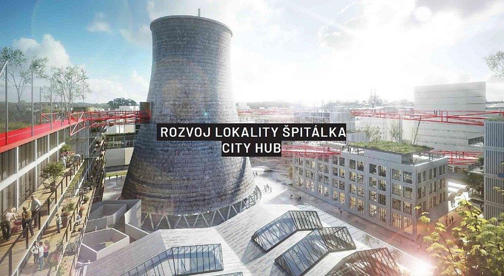 Budoucí podoba chytré čtvrti Špitálka v Brně, kterou zpřístupní chystaná nová Brněnská třída.