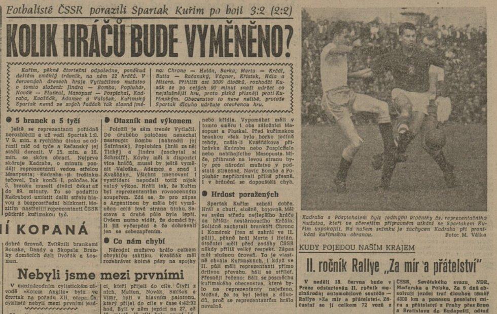 Československý národní tým zdolal při slavném přípravném souboji Kuřim 3:2.