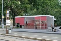 Nová kavárna (na snímku) možná už příští rok vznikne z chátrající funkcionalistické zastávky Obilní trh u stejnojmenného parku poblíž centra. Brňané o její podobě hlasovali v anketě.